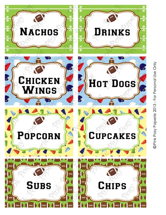 Printable Football Birthday Food Labels by PinkPosyPaperie ...