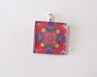 Glass Tile Pendant Necklace -  Kaleidoscope No. T-24