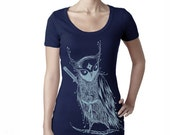 Zentangle Samurai Owl Scoop neck woman T shirts