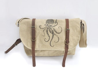 Samurai Octopus Vintage Canvas Explorer Shoulder Bag w/ Leather Accents
