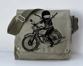 Ninja motorcycle rider  Messenger Bag