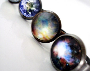 Simple Galaxy Space Ring - Antique Bronze or Silver, Adjustable - Petite Solar System Planet and Nebula Rings - Earth Moon Cosmos Jewelry