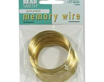 """Gold Plated Memory Wire,1.75""""-1 Ounce,WHOLESALE PRICING FREE Quantity Shipping"""