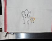 Happy Pot and Cup Embroidered Tea Towel