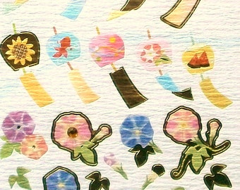 Summer Stickers  Japanese Chiyogami Paper Stickers Windchimes Flowers (S139)