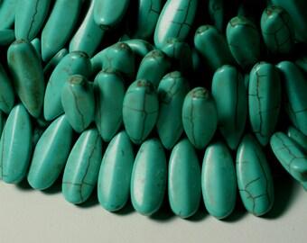 Turquoise teardrop 24x10mm, 12 pcs (item ID TPLT24)
