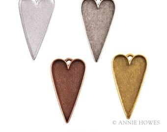 Primitive Folk Heart Silver Pendant Tray Patera. Color Options.
