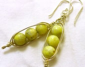 Peridot Jasper and Gold Pod Earrings