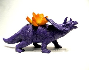 Dinosaur Planter Painted Purple for Succulent Plants and Small Cacti