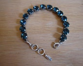 Montana Blue Swarovski Crystal Tennis Bracelet in an Antique Silver Setting