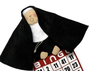Funny nun doll, bingo player, fun religious decor, fabric sister doll, nun with bingo card, bingo doll, Sister Ivana Wynne