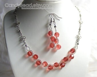 Swarovski Crystal Necklace And Earrings, Light Red Padparadcha Set By CandyBead