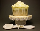 SALE : Floral Lace Cupcake Stand in Purple and Yellow // Porcelain {Bouquet Lace Collection}