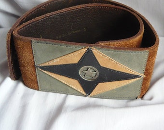 Vintage Wide Cinch Belt Suede n Leather VERA small 27 to 30 Cafe Brown STAR Grey Black USA