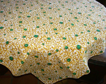 Table Topper Tablecloth Bengaline Fabric Vintage Designer Decor