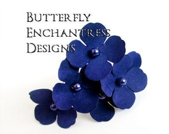 Something Blue, Royal Blue Hair Flowers, Beach Wedding Hair Accessories - 6 Dk Cobalt Blue Adora Hydrangea Hair Pins