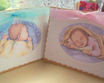 New Baby Card - Hand-Pricked  Paper Lace - choice of Baby Boy or Baby Girl