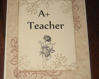 A Plus Teacher with Flowers Greeting Card