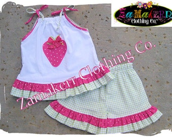 Girl Strawberry Pant Set - Strawberry Birthday Party Ruffle Outfit Set Toddler Size 3 6 9 12 18 24 month size 2T 2 3T 3 4T 4 5T 5 6 7 8