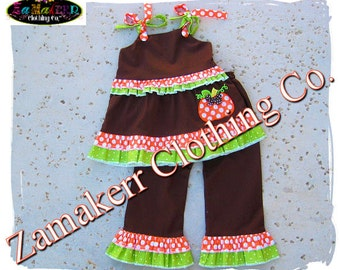Fall Thanksgiving Pumpkin Outfit - Custom Boutique Clothing Girl Top Pant Set - Size 3 6 9 12 18 24 month size 2T 2 3T 3 4T 4 5T 5 6 7 8