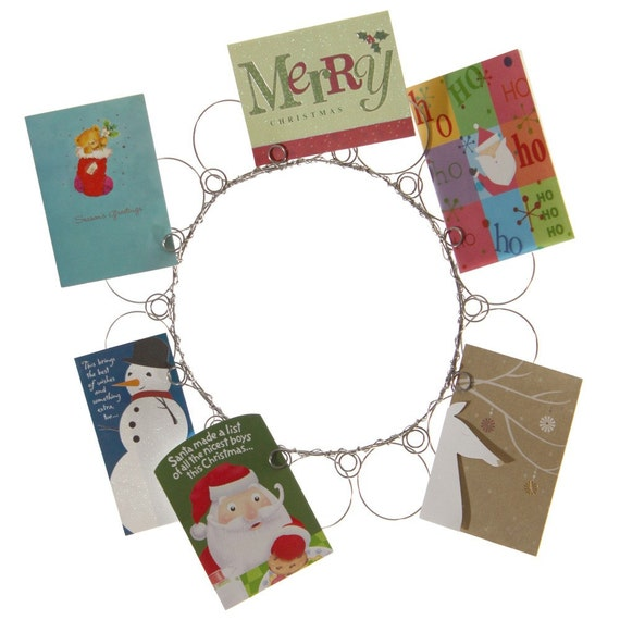 Christmas wire wreath card holder for How to make christmas card holders wall