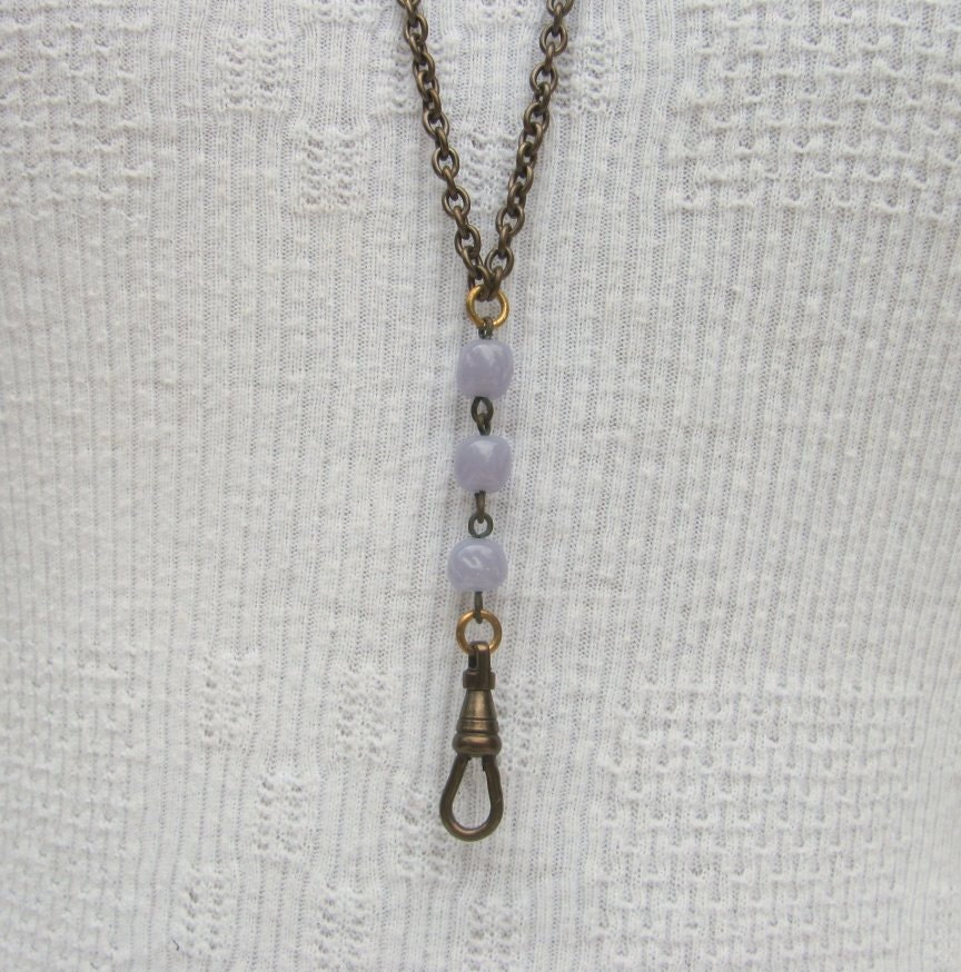 SALE! CLOSEOUT Vintage lanyard pastel purple Bulk pricing Rosary style chain pressed bead glass Necklace Charm holder supplies C123 steampunk buy now online