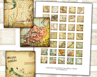 Antique Maps of the World 1x1 inch digital collage sheet inchies 25mm 25.4mm 1x1 cartography globe