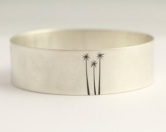 Bangle Bracelet with Cabbage Trees in Recycled Sterling Silver Eco Friendly