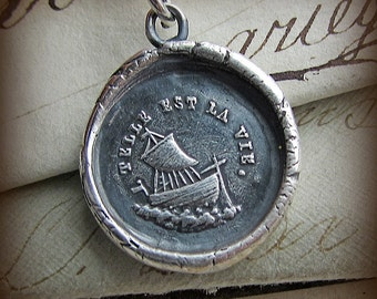 Such is Life Wax Seal Necklace - Ship - antique French Wax Seal Jewelry - sailboat necklace, nautical jewelry, life's journey FR445