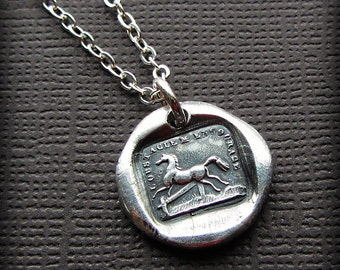 Horse Wax Seal Necklace I'm Encouraged by Obstacles - Horse Necklace - Equestrian Necklace - Rise to the Occasion - FS615