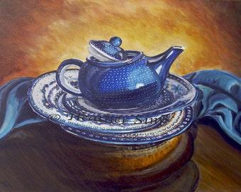 Teapot still life art,Polish pottery kitchen decor print, series  Sims, giclee  size and mat Option
