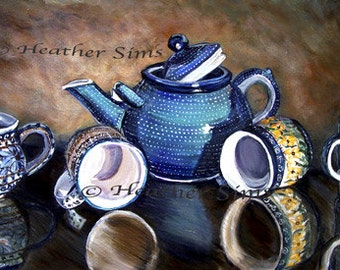 Boleslawiec pottery,Polish pottery mug, kitchen art print, teapot still life art for kitchen wall art giclee, dining room decor,Heather Sims