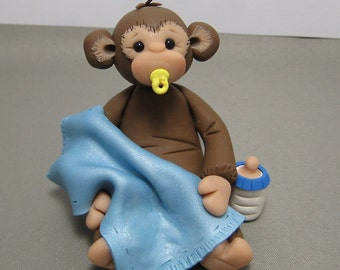 Baby Monkey polymer clay Baby Shower Cake Topper decoration Made To Order