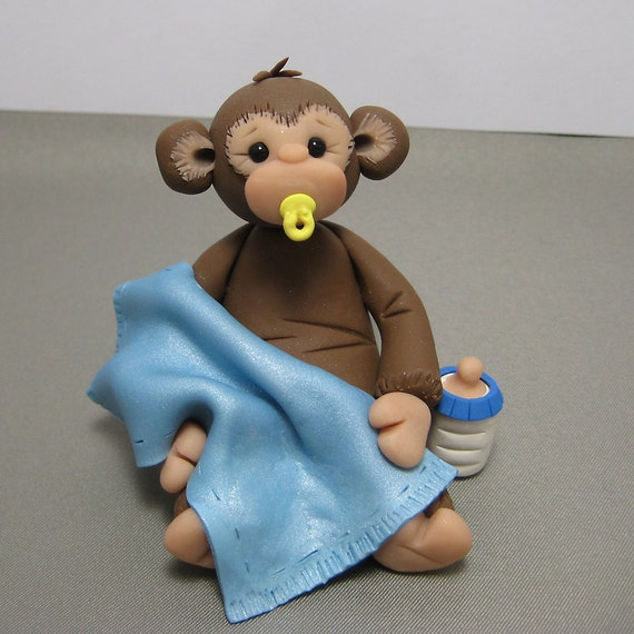 Baby monkey polymer clay baby shower cake topper decoration - Baby shower monkey theme cakes ...