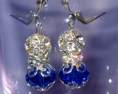 Earrings with Dark Sapphire and Clear Crystal Fireball Beads, Silver