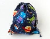 Robots and Aliens Drawstring Bag, Party Favor Bag, Children Drawstring Bag, Crayons storage bag, Boys storage drawstring Bag, Space bag
