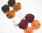 10 Medium Size Yoyo Fabric Flowers - Embellishments,Fall,Winter,Hair Accessories,Cards,Ect. - whatshername