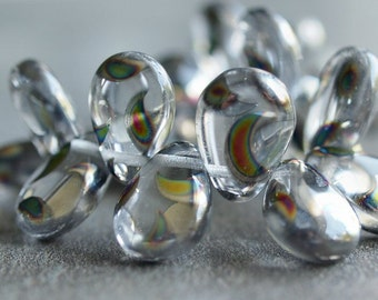 Crystal Peacock Czech Glass Bead 12x16mm Pear Shape Drops : 6 pc