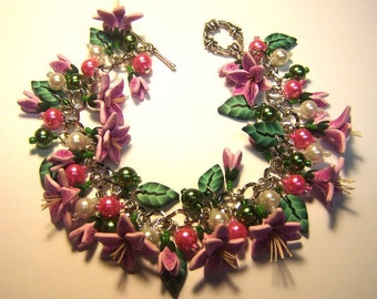 Pink Asiatic Lily Charm Bracelet