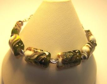 Medical Alert Bracelet / Watch Band with Handmade Glass Beads -Gwenivere in Lemongrass- SRA 105S