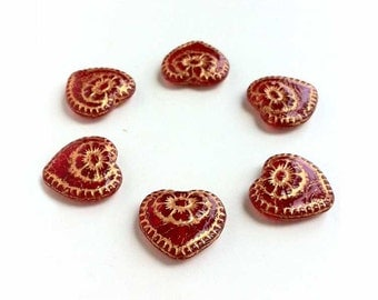 Red w Gold Inlay Hearts Glass Beads Valentine's Day Love