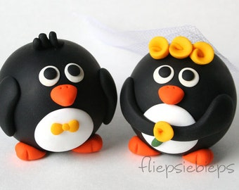 Custom Round Penguin Wedding Cake Topper