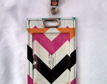 Multicolor Chevron Stripe Vertical Badge Holder