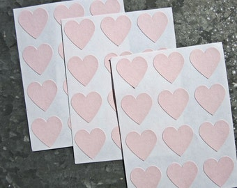 "Pink  Heart Stickers, 108 Stickers, 3/4 "" heart labels, Mini Hearts"