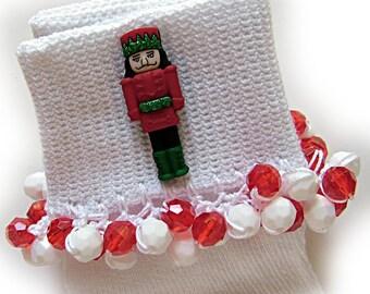 Kathy's Beaded Socks - Red Nutcracker socks, Christmas socks, button socks, holiday socks, red socks