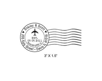 Airplane Post Mark Mail Art  Custom Return Address Rubber Stamp AD286