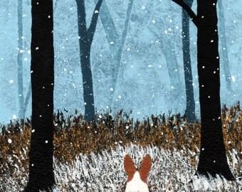 Pembroke Welsh Corgi Dog Folk Art PRINT of Todd Young painting FIRST SNOW