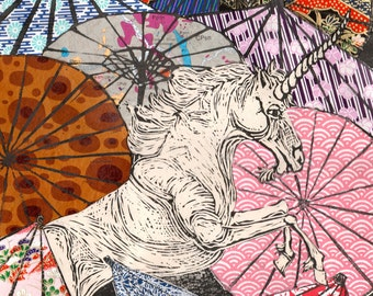 Unicorn Amongst Umbrellas XXIII- Multimedia - Linocut Unicorn with Collaged Japanese Paper Parasols