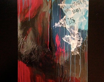 romantic drugs, 16x20 large abstract fine art print, modern urban painting reproduction in black, gray, magenta, blue, aqua with text