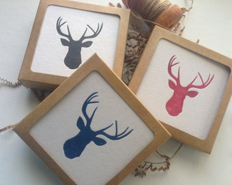 Set of 12 Deer Head Letterpress Coasters Gift Set
